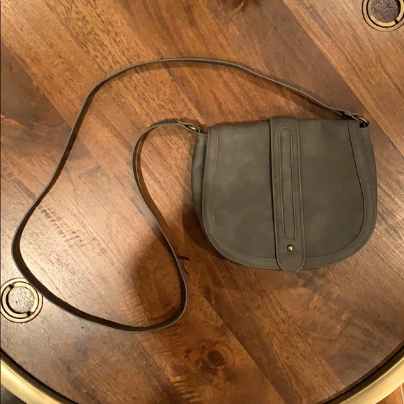 EXPRESS Grey Leather-Look Crossbody Bag